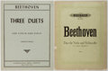 Books:Music & Sheet Music, [Music]. Ludwig van Beethoven. Sheet Music for One Quartet and FiveDuets. Various publishers. Wrappers. Fair to very good.... (Total:3 Items)