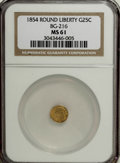 California Fractional Gold, 1854 25C Liberty Round 25 Cents, BG-216, R.6, MS61 NGC....