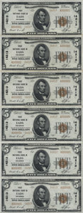 National Bank Notes:Colorado, Eads, CO - $5 1929 Ty. 2 The First NB Ch. # 14213 Uncut Sheet. ...
