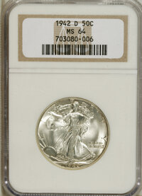 1942-D 50C MS64 NGC. NGC Census: (778/2142). PCGS Population (1614/3324). Mintage: 10,973,800. Numismedia Wsl. Price for...