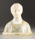 Sculpture, Bust of a Woman, Beatrice . . G. Besji (19th/20th Century). Alabaster. 15-1/8 x 14 x 7-3/8 inches. Signe...