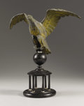 Fine Art - Sculpture, American:Antique (Pre 1900), An American Folk Art Eagle. . Unknown, American. Early Nineteenthcentury. Tin, wood, and whale bone. 19 inches high (with b...