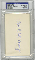 Autographs:Index Cards, Carl Mays Signed Index Card PSA Authentic. Mays holds theunfortunate distinction of being responsible for the firston-fiel...