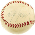 Autographs:Baseballs, Early 1950's Cy Young Signed Baseball. Worth close to $10,000 as atrue single, this OAL (Harridge) ball provides the smart...