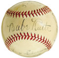 "Autographs:Baseballs, 1942 ""The Pride of the Yankees"" Cast Signed Baseball with Babe Ruth, Gary Cooper. Widely considered the most important spor..."