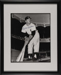 Autographs:Photos, 1980's Mickey Mantle Signed Large Photograph. Classic yet uncommonimage finds the young Mick framed against a background o...