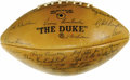 Football Collectibles:Balls, 1965 Green Bay Packers Team Signed Football. A twenty-three to twelve victory over the Cleveland Browns in the NFL Champion...