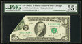 Error Notes:Foldovers, Fr. 2028-G $10 1988A Federal Reserve Note. PMG About Uncirculated 55 EPQ.. ...