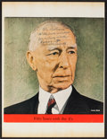 Baseball Collectibles:Photos, Connie Mack Signed Magazine Clipping....