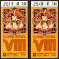 Football Collectibles:Tickets, 1974 Super Bowl VIII Ticket Stubs Lot of 2....