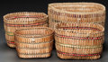 American Indian Art:Baskets, FOUR QUILEUTE TWINED BASKETS... (Total: 4 Items)