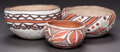 American Indian Art:Pottery, THREE ISLETA POLYCHROME BOWLS. c. 1900... (Total: 3 Items)