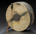 American Indian Art:Pipes, Tools, and Weapons, A PLAINS PAINTED HIDE DRUM. c. 1880... (Total: 2 Items)