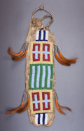 American Indian Art:Beadwork and Quillwork, A SIOUX BEADED HIDE POUCH. c. 1880...