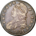 """Bust Half Dollars, 1824 50C Over Various Dates VF30 NGC. O-103, R.1. Ex: """"Col."""" E.H.R.Green. The """"jumble of recuttings"""" variety. The underdig..."""