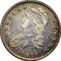 "Bust Half Dollars, 1817 50C XF45 NGC. CAC. O-110a, R.2. Ex: ""Col."" E.H.R. Green.Luminous sea-green, autumn-gold, and fire-red enrich this cla..."
