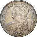 """Bust Half Dollars, 1824 50C AU55 NGC. CAC. O-111, R.2. Ex: """"Col."""" E.H.R. Green. Richdove-gray and olive-green blanket pleasing, smooth surfac..."""