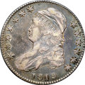 "Bust Half Dollars, 1819 50C XF40 NGC. O-107, R.3. Ex: ""Col."" E.H.R. Green. Richpeach-red and forest-green toning blankets both sides. A few h..."