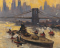 "Fine Art - Painting, American:Modern  (1900 1949)  , GUY CARLETON WIGGINS (American, 1883-1962). The French Warship""Richelieu"" in the East River, 1943. Oil on canvas board..."