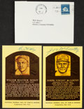 Baseball Collectibles:Others, Bill Dickey and Joe McCarthy Signed Hall of Fame Plaque PostcardsLot of 2....