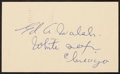 Baseball Collectibles:Others, 1950 Ed Walsh Signed Government Postcard....
