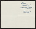 Baseball Collectibles:Others, 1952 Honus Wagner Signed Cut Signature....