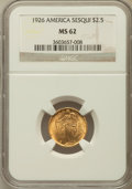 Commemorative Gold: , 1926 $2 1/2 Sesquicentennial MS62 NGC. NGC Census: (1189/5442).PCGS Population (1364/8556). Mintage: 46,019. Numismedia Ws...