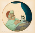 Animation Art:Production Cel, Pinocchio Geppetto and Figaro Production Cel (Walt Disney,1940)....