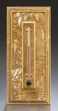 Art Glass:Tiffany , RARE TIFFANY STUDIOS GLASS AND GILT BRONZE PINE NEEDLE DESKTHERMOMETER. Circa 1920, Stamped: TIFFANY STUDIOS, N...
