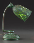 Art Glass:Tiffany , RARE TIFFANY STUDIOS GLASS AND BRONZE GRAPEVINE PATTERNADJUSTABLE DESK LAMP. Circa 1915, Stamped: TIFFANY STUDI...