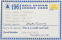 John F. Kennedy: Bell System Credit Card Signed, 1961