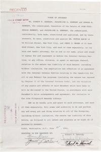 Jacqueline Kennedy, Robert F. Kennedy, and Edward M. Kennedy: Power of Attorney Signed, 1964
