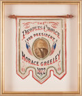 Political:Textile Display (pre-1896), Horace Greeley: A Fabulous Red, White, and Blue Campaign Banner forthis 1872 Presidential Candidate. ...