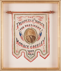 Horace Greeley: A Fabulous Red, White, and Blue Campaign Banner for this 1872 Presidential Candidate