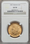 Indian Eagles, 1907 $10 No Periods AU58 NGC....