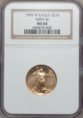 1999-W G$10 Quarter-Ounce Gold Eagle MS68 NGC....(PCGS# 99942)