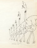 "Animation Art:Production Drawing, Fantasia ""Dance of the Hours"" Ostrich Ballerinas Production Drawing (Walt Disney, 1940)...."