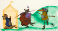 Animation Art:Production Cel, Robin Hood Robin Disguised as a Stork Pan Production Cel Set-Up (Walt Disney, 1973)....