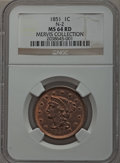 1851 1C MS64 Red NGC. N-2, R.1. Our EAC Grade MS60....(PCGS# 1894)