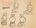 animation art:Model Sheet, The Flintstones Pebbles Studio Model Sheet (Hanna-Barbera, 1963)....