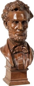 Political:3D & Other Display (pre-1896), Abraham Lincoln: George Bissell Bronze Bust. ...