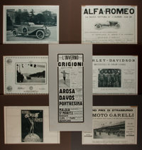 [Automobiliana] Lot of Seven Vintage Italian Automobile and Motorcycle Advertising Illustrations. Various sizes six o
