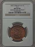 Large Cents, 1855 1C Upright 5s MS64 Red and Brown NGC. N-4, R.1. Our EAC GradeMS63....