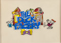 Animation Art:Production Cel, The Duck Factory Title Production Cel and Background(Playhouse Pictures, 1984)....