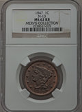 Large Cents, 1847 1C MS62 Red and Brown NGC. N-13, R.4. Our EAC Grade MS60....