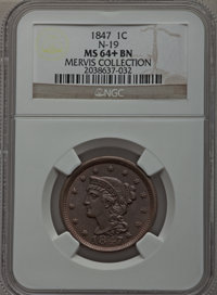 1847 1C MS64+ Brown NGC. N-19, R.1. Our EAC Grade MS62....(PCGS# 1877)