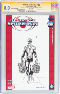 Ultimate Spider-Man #100 Hero Initiative Frank Quitely Edition (Marvel, 2006) CGC VF 8.0 White pages