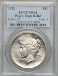Peace Dollars, 1921 $1 High Relief MS63 PCGS. PCGS Population (3616/5140). NGCCensus: (2847/4628). Mintage: 1,006,473. Numismedia Wsl. Pr...