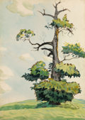 Fine Art - Work on Paper:Watercolor, CHARLES EPHRAIM BURCHFIELD (American, 1893-1967). Tree in aLandscape. Watercolor and pencil on paper. 26-7/8 x 19-1/8 i...