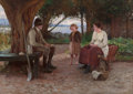Fine Art - Painting, American:Antique  (Pre 1900), HOWARD HELMICK (American, 1845-1907). The Storyteller, 1885.Oil on canvas. 23-1/2 x 32-3/4 inches (59.7 x 83.2 cm). Sig...